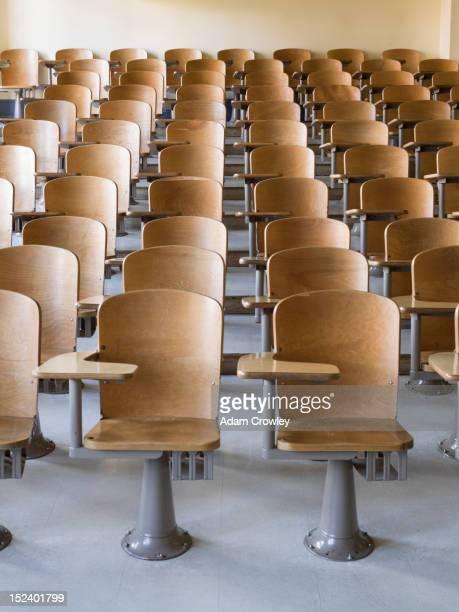 Rows of desks in classroom