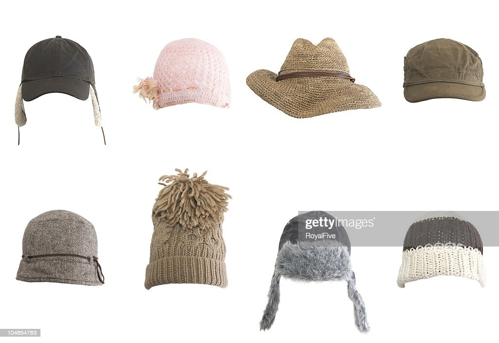 Rows Of Different Kinds Of Hats Against White Background Stock Photo ... 4e88a09a4b45