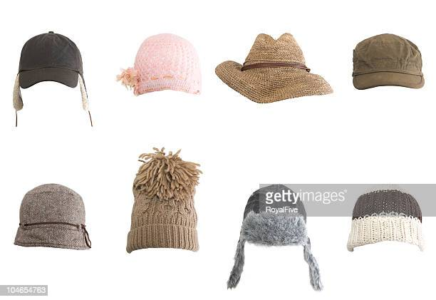 rows of different kinds of hats against white background - hat stock pictures, royalty-free photos & images