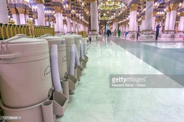 AL MADINAH, KINGDOM OF SAUDI ARABIA - MAC 3: Rows of drums of zamzam water inside Masjid Nabawi on M