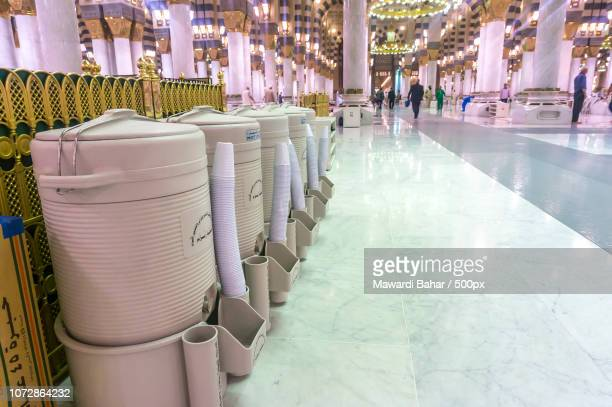 AL MADINAH, KINGDOM OF SAUDI ARABIA - MAC 3: Rows of drums of zamzam water inside Masjid Nabawi on M