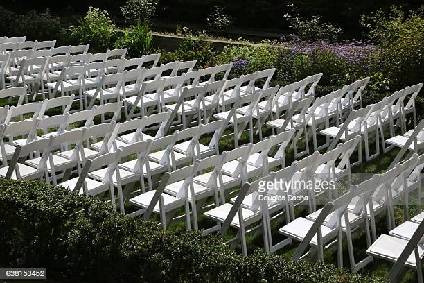 Rows of empty chars setup for a formal wedding ceremony