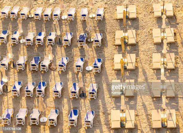 reihen von leeren liegestühlen am strand - kemter stock-fotos und bilder