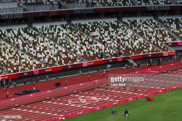 Rows of empty seats are seen in the Olympic Stadium as the Athletics continues on day 12 of the Tokyo Olympic Games on August 04, 2021 in Tokyo,...