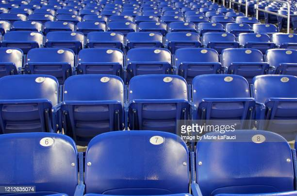 rows of empty stadium seats with seat numbers - fauci stock pictures, royalty-free photos & images
