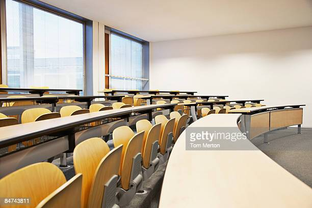rows of folding chairs and tables - academy stock pictures, royalty-free photos & images