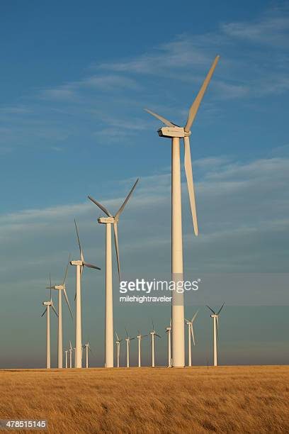 rows of ge wind turbines southeast colorado - general electric stock pictures, royalty-free photos & images