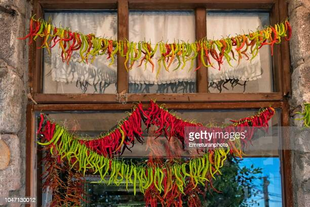 Rows of green and red peppers drying on a rope in front of a window.