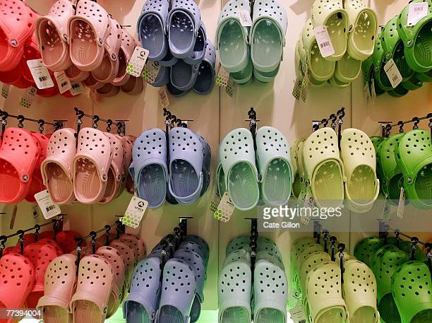 283d3c657fa394 Rows of hanging Crocs in the first UK Crocs store on October 18 2007 in  London
