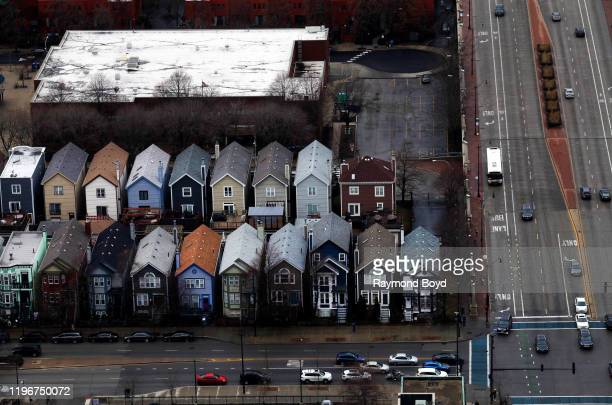 Rows of houses in the South Loop neighborhood in Chicago Illinois on December 29 2019