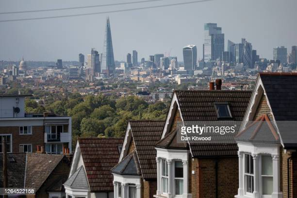 Rows of houses on August 05, 2020 in London, England. The UK's housing market has slowly reopened after months of pandemic-related restrictions that...