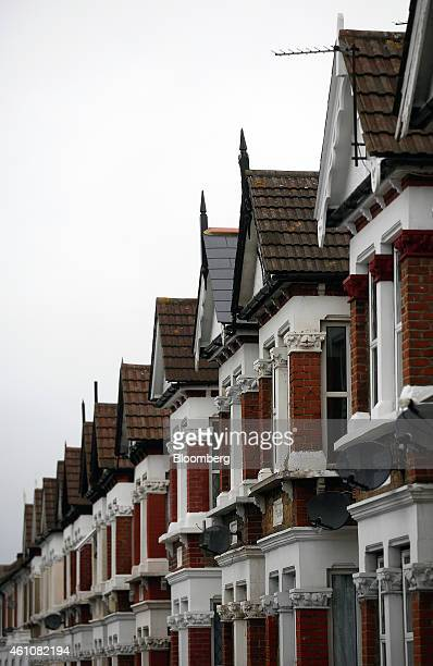 Rows of houses stand in the Catford district of London UK on Tuesday Jan 6 2015 Demand for UK mortgages fell the most since 2008 in the fourth...