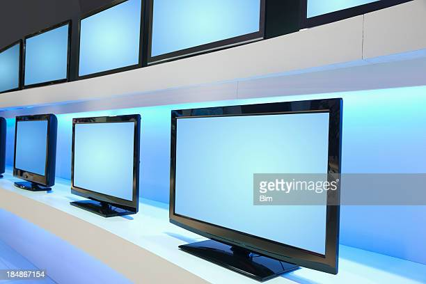 Rows of LCD TVs in TV Store