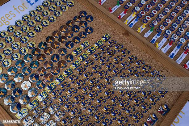 Rows of Mansfield Town badges on sale at a kiosk outside Field Mill stadium during an open day held for the club's supporters. Mansfield Town...
