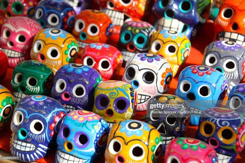 Rows Of Multi Colored Ceramic Skulls For Sale : Stock Photo