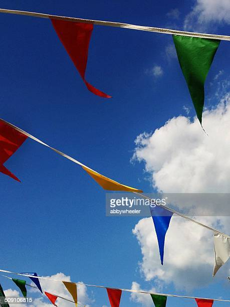 Rows of multi-colored bunting