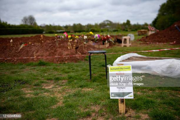 Rows of new graves being prepared at High Wood Cemetery, Nottingham. Britain has experienced the highest number of deaths in one week since records...