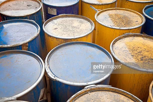 Rows of oil barrels