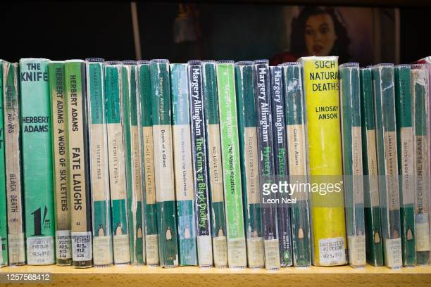 Rows of original crime books are seen in the vintage book section of the Barbican Library following it's re-opening, at the Barbican Centre on July...