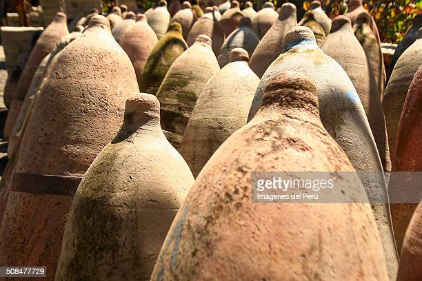 rows of pisqueras - pisco peru stock photos and pictures