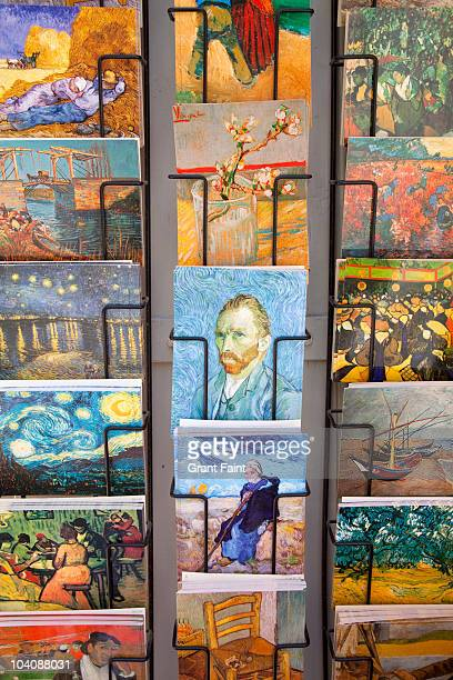 rows of  postcards in shop. - vincent van gogh stock pictures, royalty-free photos & images