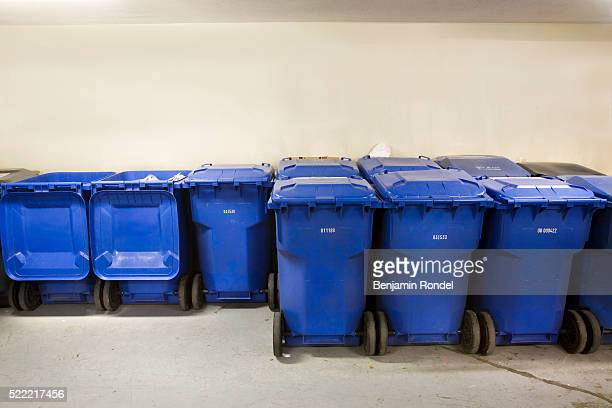 rows of recycling bins - waste management stock pictures, royalty-free photos & images