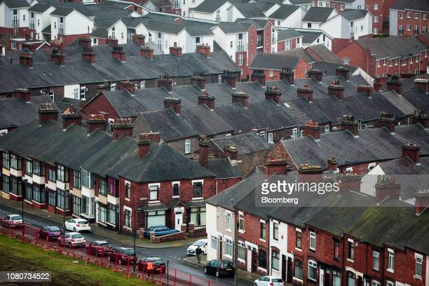 Rows of residential houses stand in StokeonTrent UK on Monday Jan 7 2019 Stoke 135 miles north of the Palace of Westminster in London and once the...