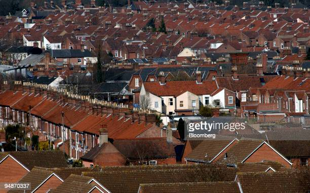 Rows of residential properties are seen in Norwich, U.K., on Saturday, March 29, 2008. U.K. House prices declined by the most this year in June as...
