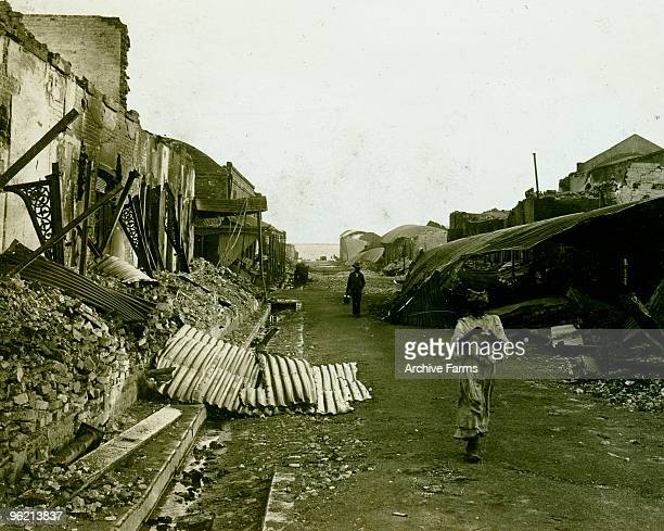 Rows of ruined warehouses along King St looking towards the bay Kingston Jamaica earthquake of January 14 1907 By HC White Company