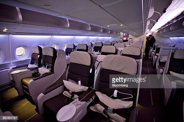 Rows of seats sit in the business class cabin during a media tour of an Air France Airbus A380 at John F Kennedy International Airport in New York US...