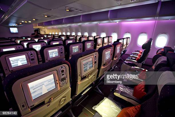 Rows of seats sit in the economy class cabin during a media tour of an Air France Airbus A380 at John F Kennedy International Airport in New York US...