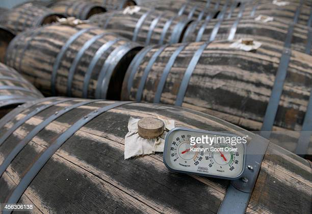 Rows of sherry barrels are line up ready for use Todd Leopold head distiller at Leopold Bros runs a family owned small batch distillery in Denver and...