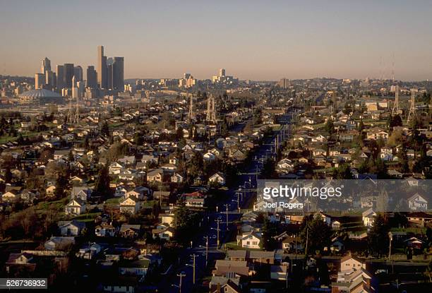 Rows of small houses cover the neighborhood of Beacon Hill in Seattle Washington USA