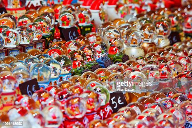 Rows of snow globes in Strasbourg Christmas market
