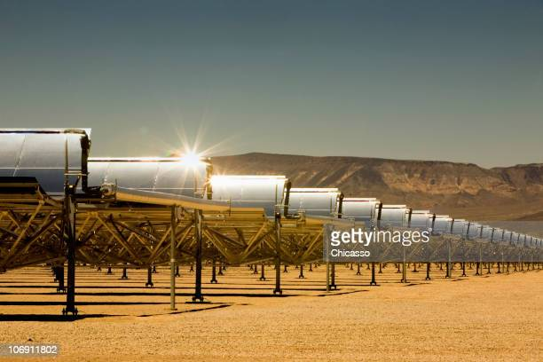Rows of solar panels in desert