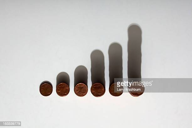 Rows of stacks of five cent Euro coins increasing in size