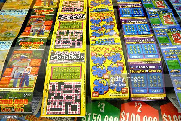 Rows of Tattersall's Ltd's scratch lottery tickets are displayed at the counter of a newspaper shop in Melbourne Australia on Friday Aug 24 2007...