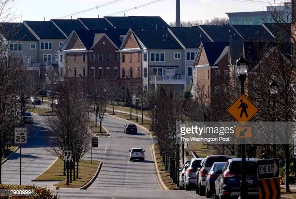 Rows of townhouses in Maple Lawn a residential and commercial community in Fulton MD on February 28 2019