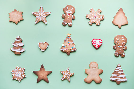 Rows of various gingerbread decorated with sugar icing on bright green ground - gettyimageskorea