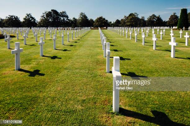 rows of white crosses at the normandy american cemetery and memorial - national landmark stock pictures, royalty-free photos & images