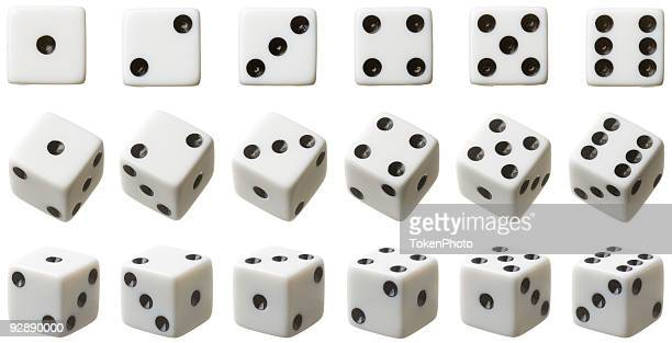 3 rows of white dice each set at different angles - dobbelsteen stockfoto's en -beelden