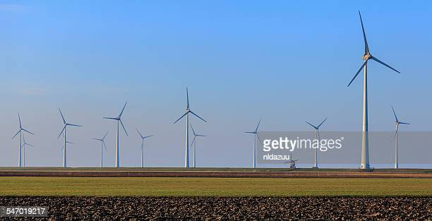 Rows of wind turbines, Eemshaven, Groningen, Netherlands
