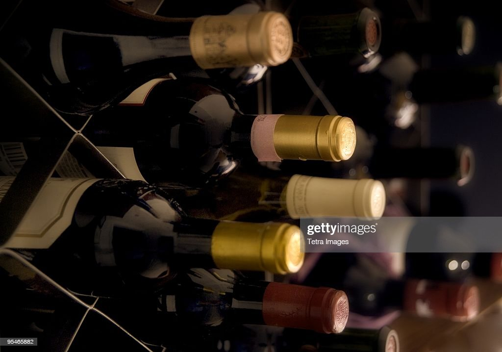 Rows of wine in boxes : Stock Photo
