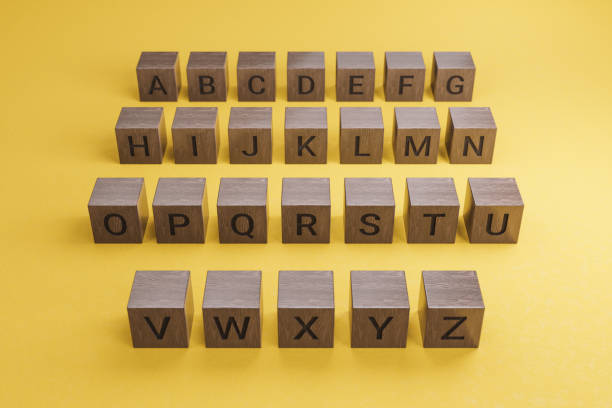 Rows of Wooden Text Alphabet Block on Yellow Background