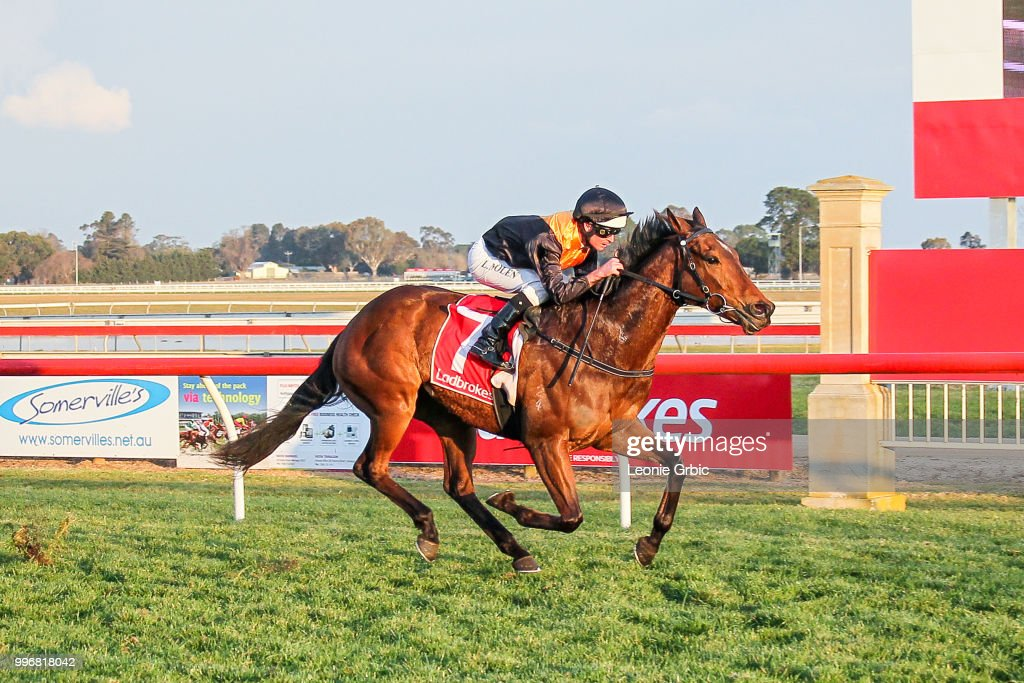 Rox The Castle (NZ) ridden by Luke Nolen wins the Gippsland Funeral Services BM64 Handicap at Sale Racecourse on July 12, 2018 in Sale, Australia.