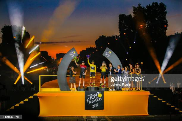Roxana Maracineanu French Minister of Sport Second place Geraint Thomas of Great Britain and Team Ineos winner of Tour de France 2019 yellow jersey...