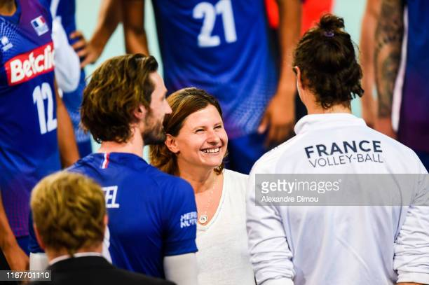 Roxana Maracineanu French sports Minister celebrates the victory with Team of France during the Euro Volley match between France and Romania on...