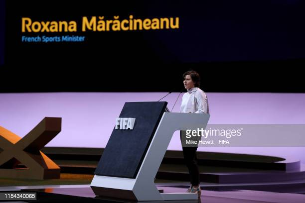 Roxana Maracineanu French Sports Minister speaks during the FIFA Women's Football Convention at Paris Expo Porte de Versailles on June 07 2019 in...