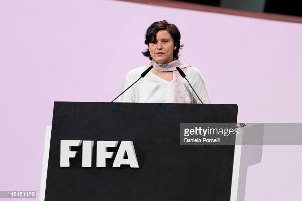 Roxana Maracineanu French Sports Minister with her welcome speech during the FIFA Women's Football Convention Part 2 on June 7 2019 in Paris France