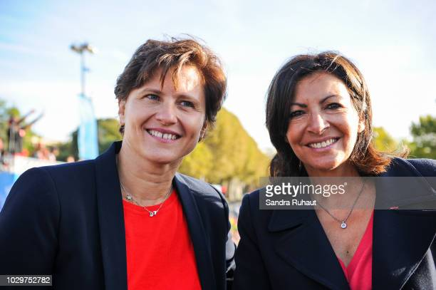 Roxana Maracineanu new french sports minister and Anne Hidalgo mayor of Paris during the La Parisienne on September 9 2018 in Paris France